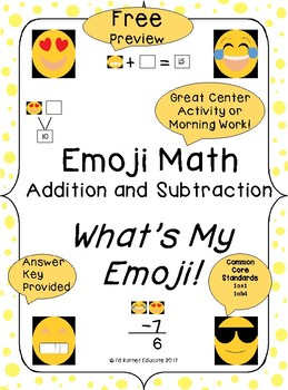 Emoji Math Addition and Subtraction, What's My Emoji/Preview