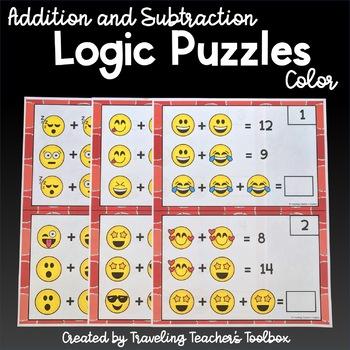 Pictorial Variable Math Task Cards - Emoji Math Challenge Task Cards