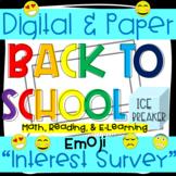 Emoji Interest Survey -* Reading * Math * E-Learning *-Digital and Paper-