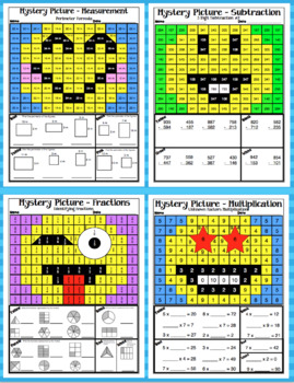 3rd Grade Emoji Math Mystery Pictures: 3rd Grade Math Skills