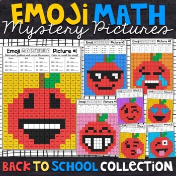 Emoji Back to School Math Mystery Pictures
