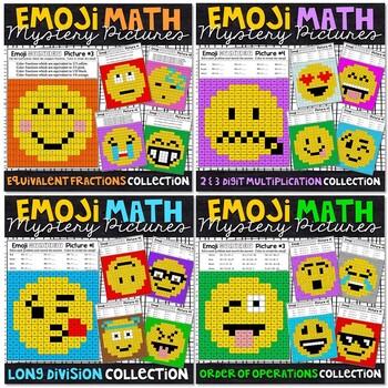 Emoji Math Mystery Pictures Bundle - Basic Skills Set 2