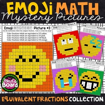Emoji FRACTIONS Math Mystery Pictures Bundle