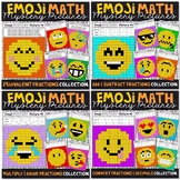 Emoji FRACTIONS Math Mystery Pictures Bundle | Fractions Color by Number Bundle