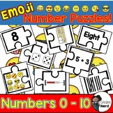 Emoji Math Stations: Number Puzzles! (Numbers 0 - 10)