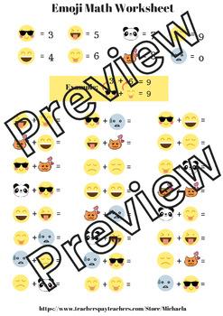 Emoji Math Worksheet - Addition up to 20