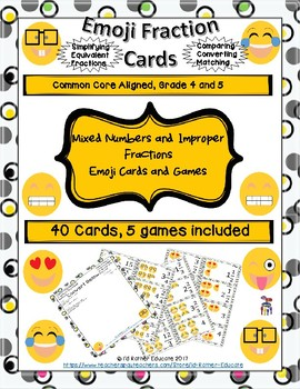 Emoji Mixed Numbers and Improper Fraction Cards and Game Set