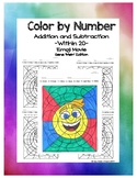 """Emoji Movie Color-by-Number: Addition & Subtraction ( 1.0A.C.6 & 2.OA.B.2) """"Meh"""""""