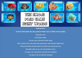 Emoji Movie Sight Word Pair Game