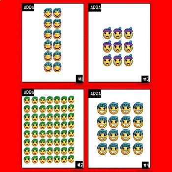 Emoji Multiplication Array Task Cards