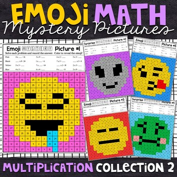 Emoji Multiplication Mystery Pictures - Set 2
