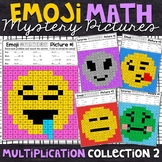 Emoji Multiplication Mystery Pictures | Multiplication Color by Number | Set 2