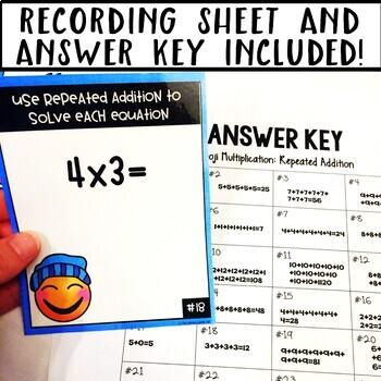 Emoji Multiplication Repeated Addition Task Cards