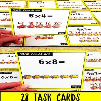 Emoji Multiplication Skip Counting Task Cards
