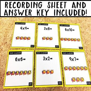 Emoji Multiplication Skip Counting Task Cards
