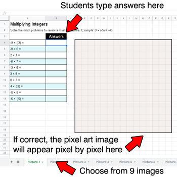Emoji: Multiplying Integers - Google Sheets Pixel Art
