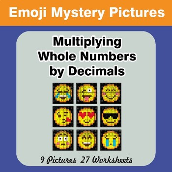 Emoji: Multiplying Whole Numbers by Decimals - Math Mystery Pictures