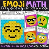Emoji Multiplying by 10, 100, and 1,000 Mystery Pictures