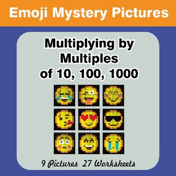Emoji: Multiplying by Multiples of 10, 100, 1000 - Math Mystery Pictures