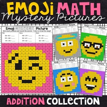 Emoji Addition Mystery Pictures - 2 and 3 Digit Numbers