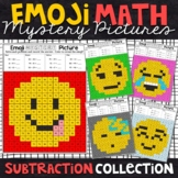 Emoji Subtraction Mystery Pictures | 2 and 3 Digit | Subtraction Color by Number