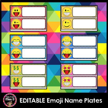 Emoji Name Plates Editable
