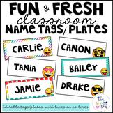 Emoji Classroom Decor: Name Tags/Plates and Bonus Set