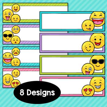 Emoji Decor Editable Desk Tags and Labels
