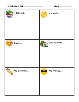 Emoji Note Taking Graphic Organizer