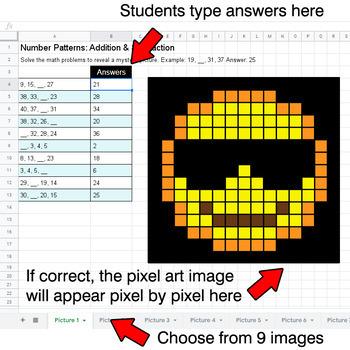 Emoji: Number Patterns: Addition & Subtraction - Google Sheets
