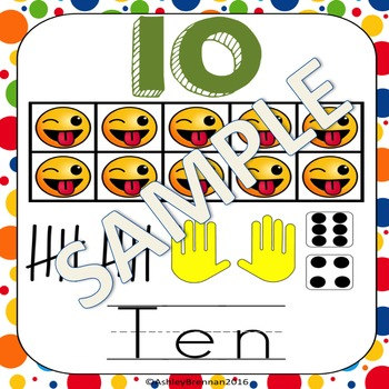 Emoji Number Posters using Emoticon 10s frames 1-20, 30, 40, and 50