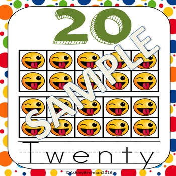 Emoji Number Posters using Emoticon 10s frames 1-20, 30, 40, 60, 70, 80, 90, 100