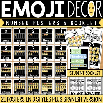 Emoji Number Posters with Tens Frames and Booklet - English and Spanish
