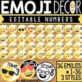 Emoji Numbers: Editable Classroom Decor
