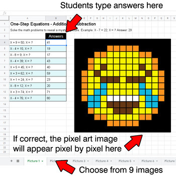 Emoji: One-Step Equations - Addition & Subtraction - Google Sheets