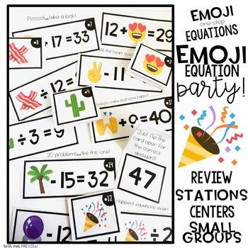 Emoji One-Step Equations Task Cards