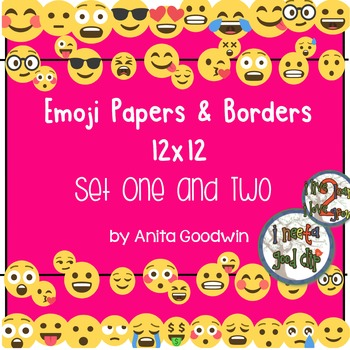 Emoji Paper and Borders 12 x 12 - Bundle Set 1 and 2