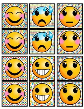 Partner Cards with Emojis! Bright, Rainbow Backgrounds- 30 Pairs