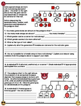 Emoji Pedigree Worksheet by Schilly Science | Teachers Pay ...