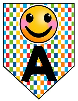 Emoji Pennants with Rainbow Backgrounds-Alphabet, Numbers and Special Characters