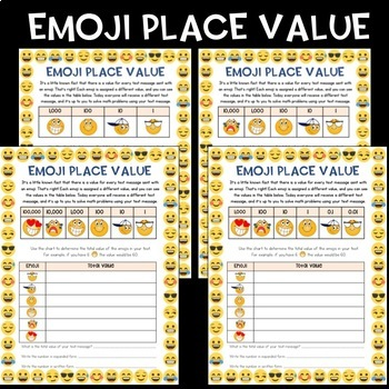 emoji place value activity differentiated by ashleigh tpt. Black Bedroom Furniture Sets. Home Design Ideas