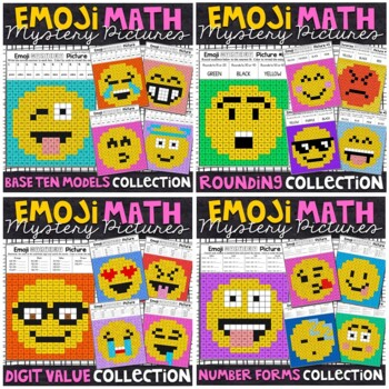 Emoji Place Value and Rounding Mystery Pictures Bundle
