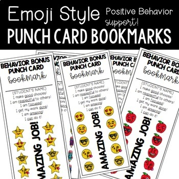 Emoji Punch Card Bookmarks for Positive Behavior Support (Editable)