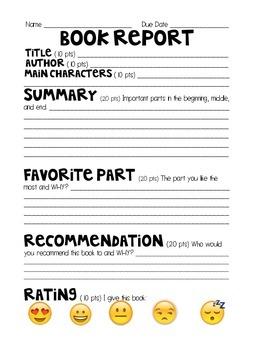 Emoji Rating Book Report