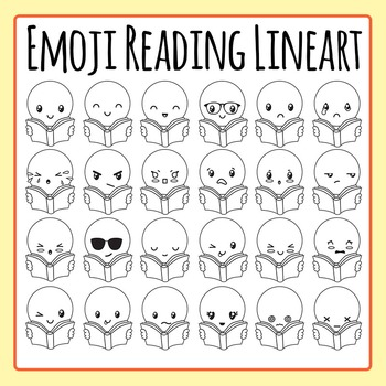 Emoji Reading  / Book Rating Black and White Clip Art for Commercial Use