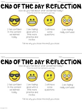Emoji Reflections (Student Reflection Form)