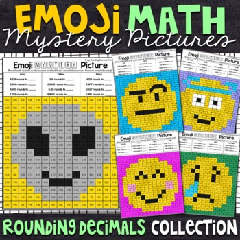 Emoji Rounding Decimals Mystery Pictures | Rounding Color by Number
