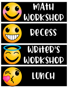 Emoji Schedule Cards Decor EDITABLE