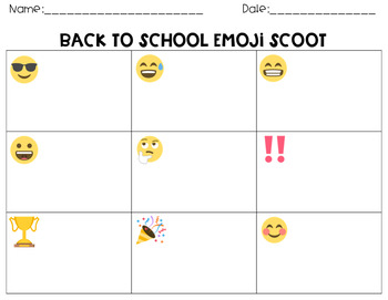 Emoji Scoot Task Cards Back to School Activity