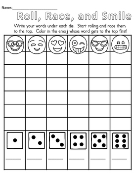 Emoji Seat Work and Word Work Packet